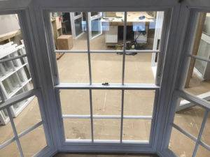 bay window on workshop floor from the inside