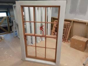 sash window on workshop floor