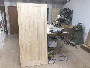 wooden door in workshop